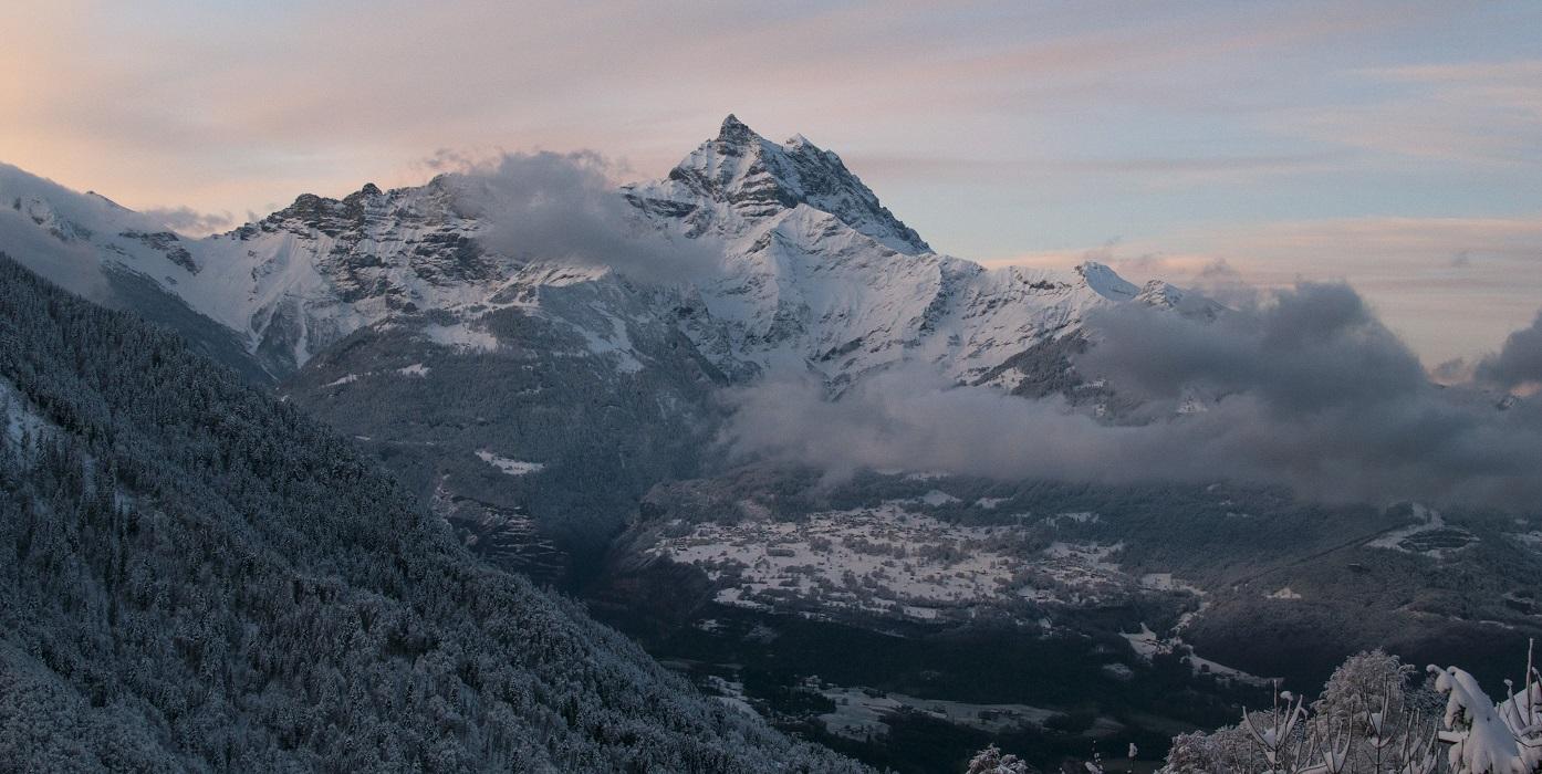 Huge mountain in a mist far-far away