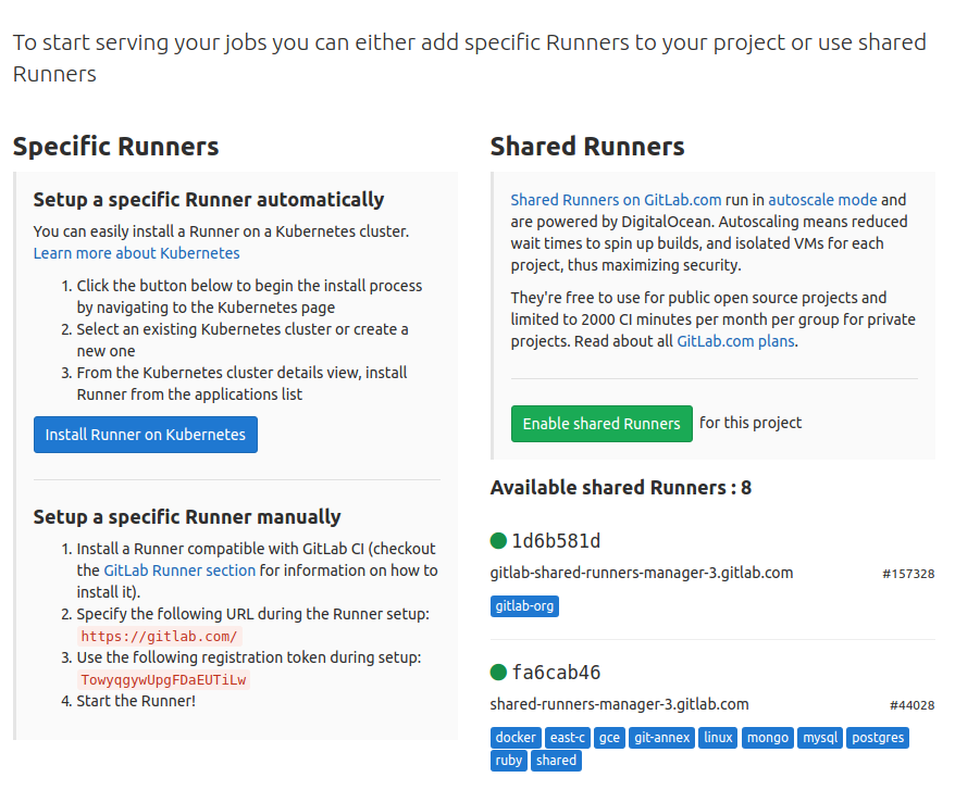 Specific runners/ shared runners