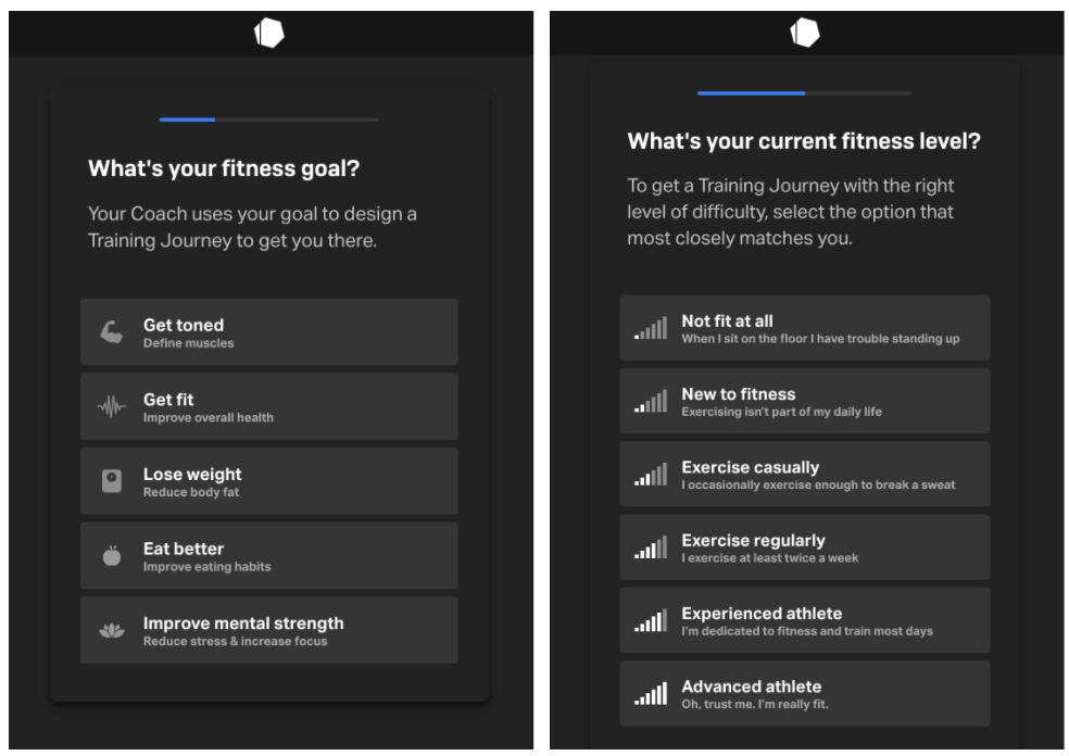 Building online fitness applications - Freeletics fitness app - customization